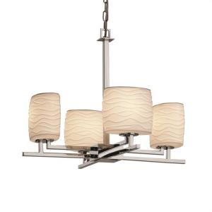 Limoges Aero - 4 Light Chandelier with Waves Oval Shade