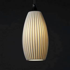 Limoges - One Light Large Curved Cylinder Pendant