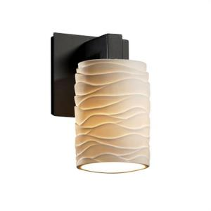 Limoges Modular - 1 Light Wall Sconce with Waves Flat Rim Cylinder Shade