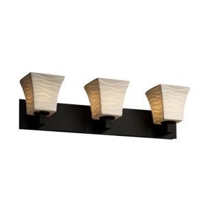 Limoges Modular - 3 Light Bath Bar with Waves Square Flared Shade
