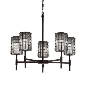 Wire Glass Union - 5 Light Chandelier with Cylinder Flat Rim Shape Grid with Clear Bubble Wire Glass Shades