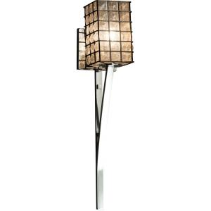 Wire Glass Sabre - 1 Light Wall Sconce with Square Flat Rim Shape Grid with Clear Bubble Wire Glass Shades