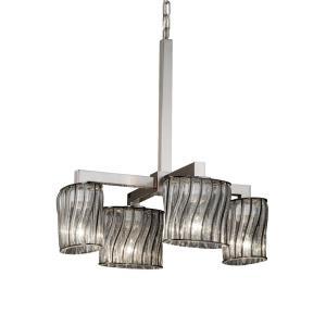 Wire Glass Modular - 4 Light Downlight Chandelier with Oval Shape Swirl with Clear Bubble Wire Glass Shades