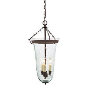 Three Light Large Elongated Bell Jar Lantern