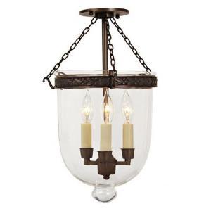 Three Light Medium Bell Jar Semi-Flush Mount