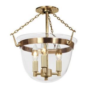 Classic - Three Light Small Bell Jar Semi-Flush Mount