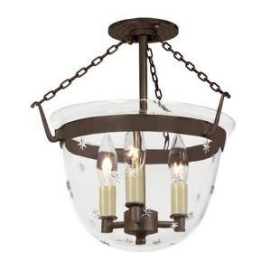 Classic - Three Light Small Bell Jar Semi-Flush Mount