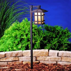 Cross Creek - Low Voltage 1 light Path Lamp - with Arts and Crafts/Mission inspirations - 27 inches tall by 6 inches wide