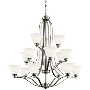Langford - 43 Inch 15 Light 3-Tier Chandelier with White Glass Shades