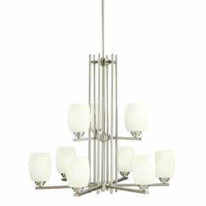 Eileen - 9 Light 2-Tier Chandelier with White Glass Shades - with Contemporary inspirations - 28.25 inches tall by 30 inches wide