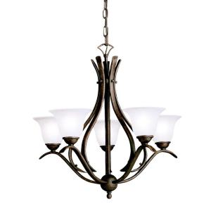Dover - Five Light Chandelier with White Glass Shades