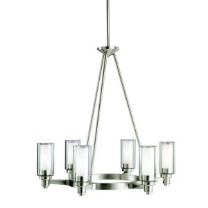 Circolo - 6 light Chandelier - with Soft Contemporary inspirations - 26.5 inches tall by 26 inches wide
