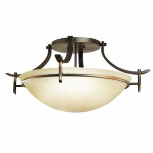 Olympia - 3 light Semi-Flush Mount - with Soft Contemporary inspirations - 11.25 inches tall by 24 inches wide