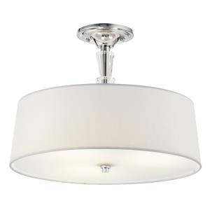 Crystal Persuasion - 3 light Semi-Flush Mount - with Transitional inspirations - 11.5 inches tall by 15 inches wide