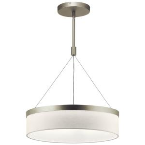 Mercel - Pendant 3 Light White Linen Fabric - with Transitional inspirations - 18.5 inches tall by 18.5 inches wide