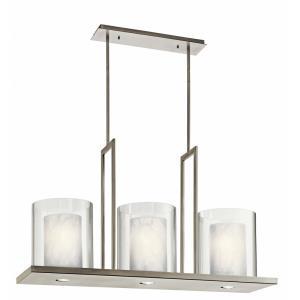 Triad - 3 light Linear Chandelier - 23 inches tall by 11.5 inches wide