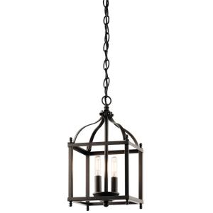Larkin - 2 light Cage Foyer - with Traditional inspirations - 14.75 inches tall by 8 inches wide