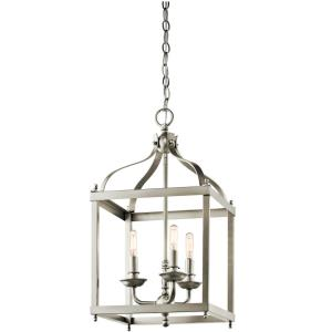 Larkin - 3 light Cage Foyer - with Traditional inspirations - 22.25 inches tall by 12 inches wide