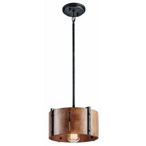 Elbur - 1 light Convertible Pendant - with Lodge/Country/Rustic inspirations - 6.75 inches tall by 10.75 inches wide