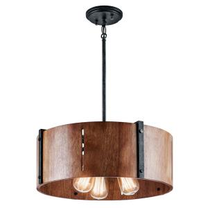 Elbur - 3 light Convertible Pendant - with Lodge/Country/Rustic inspirations - 8.5 inches tall by 18.25 inches wide