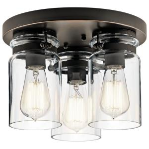 Brinley - 3 light Flush Mount - with Vintage Industrial inspirations - 8 inches tall by 11 inches wide