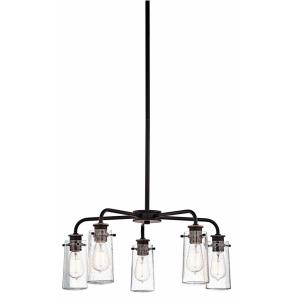 Braelyn - 5 Light Medium Chandelier - with Vintage Industrial inspirations - 11.25 inches tall by 25 inches wide