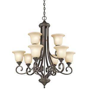 "Monroe - 33.25"" 81W 9 LED 2-Tier Chandelier"