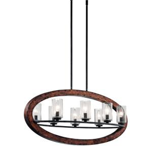 Grand Bank - 8 Light Linear Chandelier - with Lodge/Country/Rustic inspirations - 15.5 inches tall by 16 inches wide