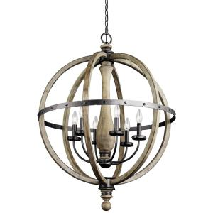 Evan - 6 light Large Chandelier - with Lodge/Country/Rustic inspirations - 37.25 inches tall by 28.5 inches wide