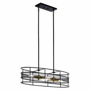Piston - 4 light Oval Chandelier/Pendant - 12 inches wide