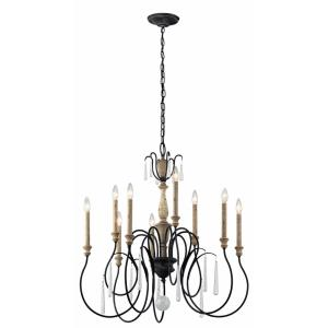 Kimberwick - 9 light Chandelier - with Lodge/Country/Rustic inspirations - 32.25 inches tall by 30 inches wide