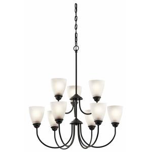 Jolie - 9 Light 2-Tier Chandelier - with Transitional inspirations - 28 inches tall by 28 inches wide
