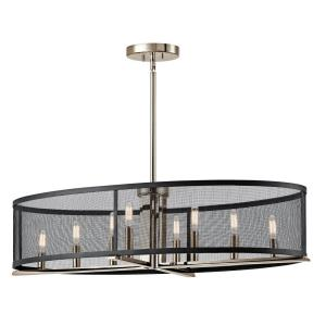 Titus - 8 light Oval Chandelier - 9.75 inches tall by 17 inches wide