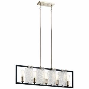 Forge - 5 light Linear Chandelier - with Vintage Industrial inspirations - 10.75 inches tall by 9 inches wide
