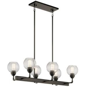 Niles - 6 light Linear Chandelier - with Vintage Industrial inspirations - 10 inches tall by 17 inches wide