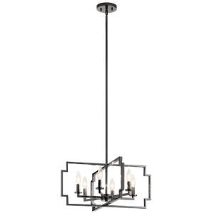 Downtown Deco - 6 Light Convertible Chandelier - with Transitional inspirations - 10.75 inches tall by 21.5 inches wide