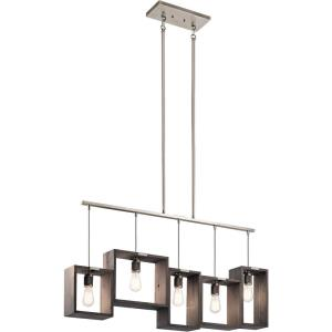 Industrial Frames - Five Light Single Linear Chandelier