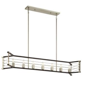 Lente - 7 Light Linear Chandelier - with Vintage Industrial inspirations - 13.5 inches tall by 13 inches wide