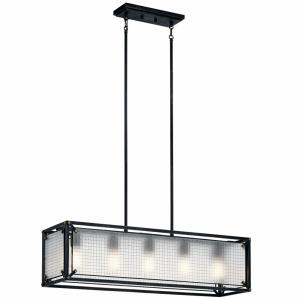 Steel - 5 light Linear Chandelier - 10.75 inches tall by 10.5 inches wide