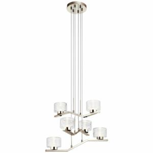 Lasus - 34W 6 LED Small Chandelier - with Contemporary inspirations - 13.5 inches tall by 23 inches wide