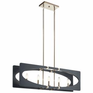 Alscar - 5 light Linear Chandelier - with Transitional inspirations - 11.5 inches tall by 7.5 inches wide