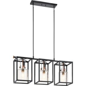 Kitner - 3 light Linear Chandelier - with Vintage Industrial inspirations - 18.5 inches tall by 10.5 inches wide