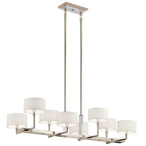 Laurent - 8 light Linear Chandelier - with Mid-Century/Retro inspirations - 16 inches tall by 18.25 inches wide