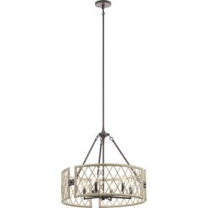 Oana - 6 light Round Chandelier - with Lodge/Country/Rustic inspirations - 22.25 inches tall by 24.75 inches wide