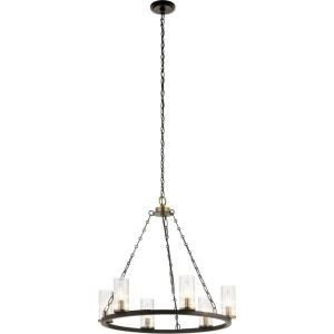 Mathias - 6 light Meidum Chandelier - with Mid-Century/Retro inspirations - 23 inches tall by 25 inches wide