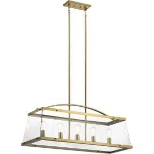 Darton - 5 light Linear Chandelier - with Transitional inspirations - 20.75 inches tall by 16 inches wide