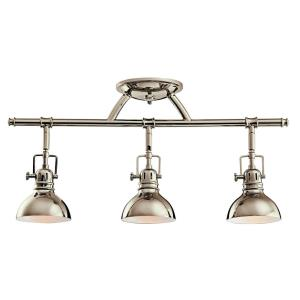 3 light Fixed Rail - with Vintage Industrial inspirations - 11.25 inches tall by 5.5 inches wide