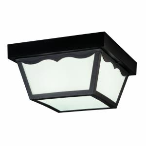 - 2 light Outdoor Flush Mount - with Utilitarian inspirations - 5.5 inches tall by 10.5 inches wide