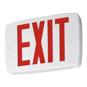 "Quantum - 11.75"" 0.62W 1 LED Emergency Exit Sign Light with Stencil-Faced and Nickel Cadium Battery"