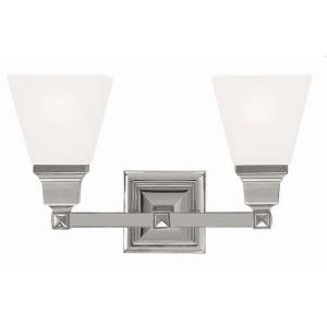 Mission 2 Light Transitional Bath Vanity Approved for Damp Locations